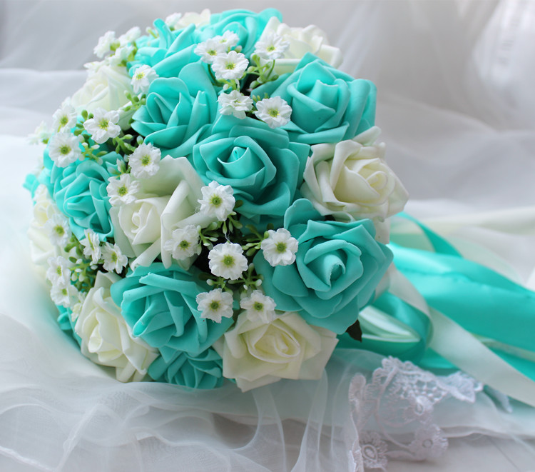 Turquoise green ivory wedding bouquet flowers