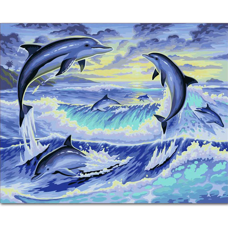 Frameless DIY Digital Coloring Acrylic Painting By NumberSsOn Canvas Wedding Decoration Wall Stick Handwork Gifts dolphin