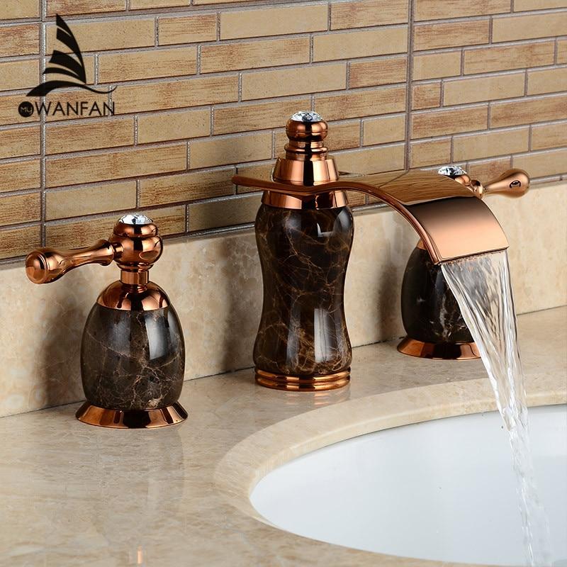 Basin Faucet Brass Gold Luxury Jade Waterfall Bathroom Sink Faucet Deck Mount Dual Handle 3 Holes Bathbasin Mixer Taps LH-16849 brushed nickel deck mount waterfall basin mixer dual handle 3 holes bathroom faucet