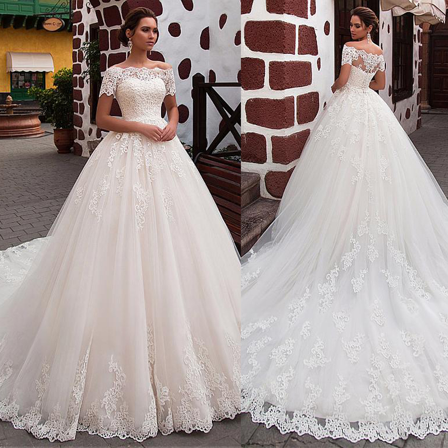 Attractive Tulle Off the shoulder Neckline Ball Gown Wedding Dress With Lace Appliques Short Sleeves Bridal