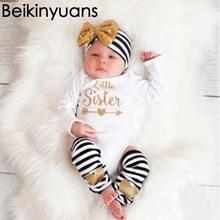 Baby Clothing Spring new piece t-shirt Cotton Uniforms Headset Leg Warmer Knee High+Headwear Sets Toddler Girls t-shirt