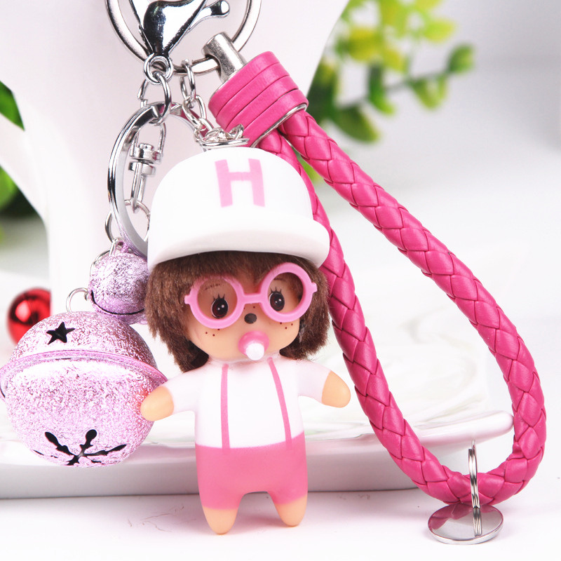 Anime Doll Keychain <font><b>Key</b></font> <font><b>ring</b></font> With Bells Hand-painted Craft 3D Keyrings <font><b>PVC</b></font> <font><b>Vinyl</b></font> Creative Trinkets for Car Keychain Holder