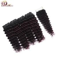 Pinshair Brazilian Deep Wave 4 Bundles With Closure Grape Purple Burgundy Bundles Human Hair Ombre Bundles With Closure Non Remy