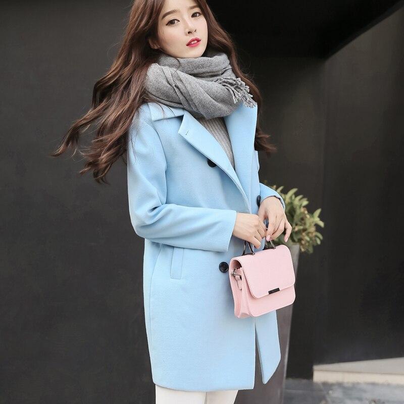 Trench Nouvelle Thicken Plus Long La Hiver Wq538 Femmes blue gray Veste gray Chaud Laine Femme Mélange Cachemire Manteau Outwear Mode De Taille Thicken Blue rqYrX6x