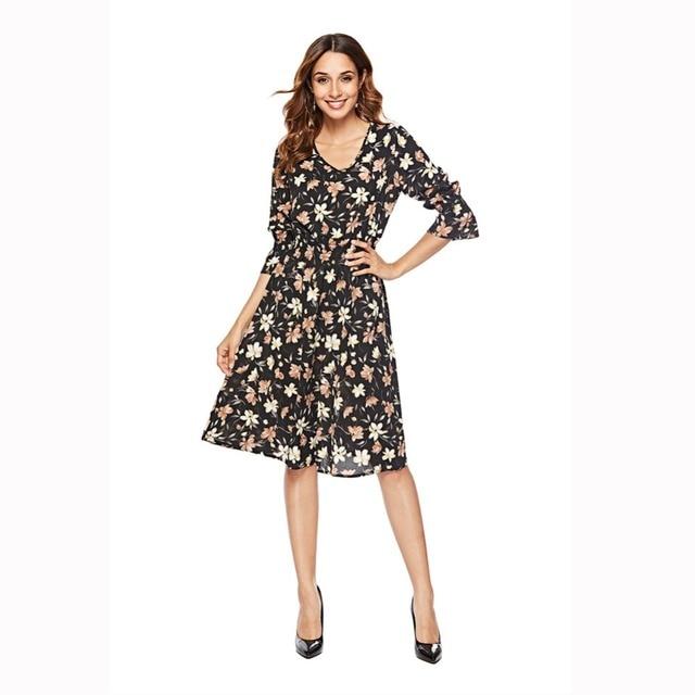 Осенне-зимняя обувь Новые платья-Труба рукава шифон платье с принтом для девочек в длинный абзац женский