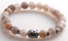 Wholesale bracelet Jewelry  8m Beige Color Crack Veins Semi Precious Stone Beads Antique Gold / Silver Men's Buddha Bracelets