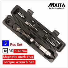 MXITA 5 Pcs Kit Magnetic spark plug torque wrench Set Car Auto repair tools 3/8 5-60NM hand tool set