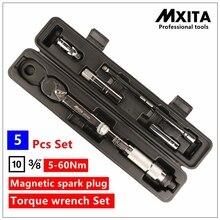 MXITA 5 Шт. Комплект Магнитная свеча зажигания Набор динамометрический ключ Авто ремонт инструменты 3/8 5-60NM ручной инструмент набор
