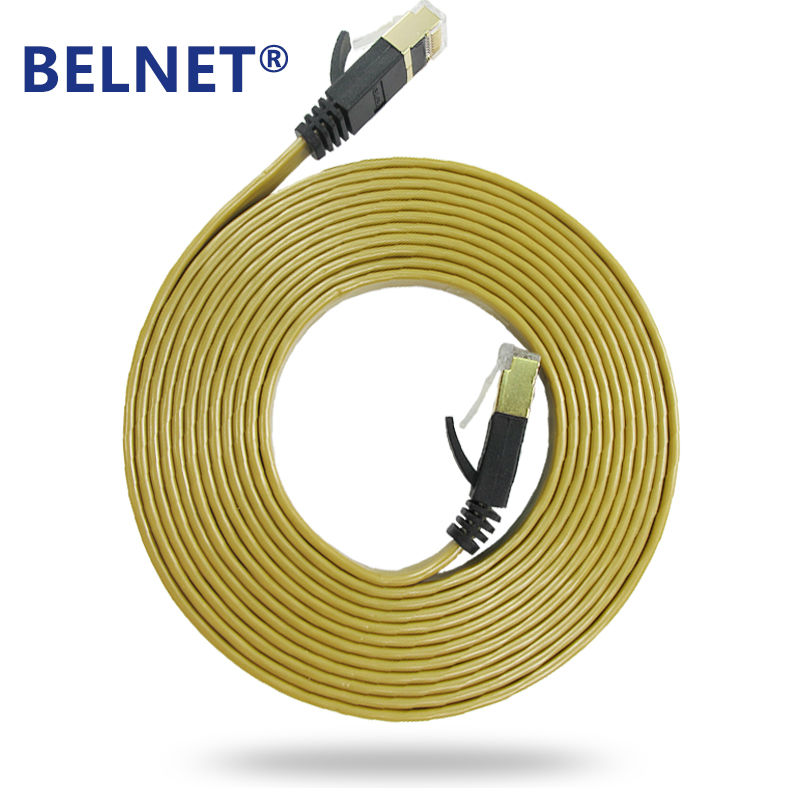 Cable de Ethernet plano BELNET Cat7 rj45 Cable de red Ethernet Cable Ethernet FTP de 1m a 20 metros para cable de computadora Oro