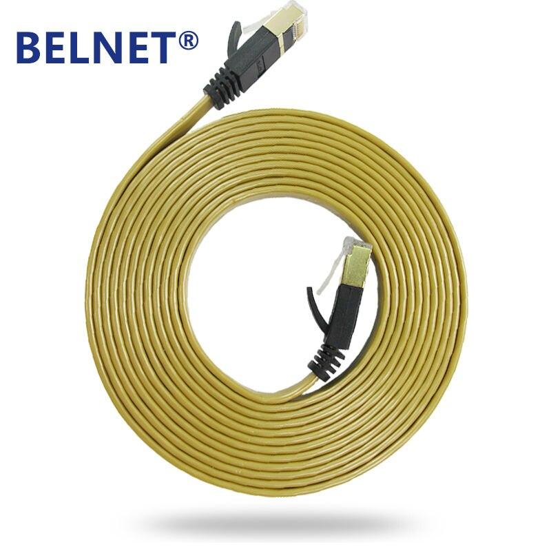 Cable Ethernet plano BELNET Cat7 rj45, cable Ethernet Lan FTP de 1m a 20 metros para cable de ordenador dorado Cable adaptador PoE RJ45 conjunto divisor de inyector cinta tamizada alimentación pasiva sobre Ethernet12-48v