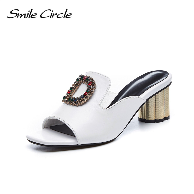 Smile Circle Summer slippers Women Fashion Rhinestone High heel Shoes Women sandals chaussures femme ete 2018 Summer Shoes C9021