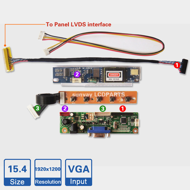 F 15.4 inch 1920x1200 Laptop LCD Screen DIY a monitor controller board Kit RTD2270L Driver Board 30pin LVDS Cable CCFL inverter