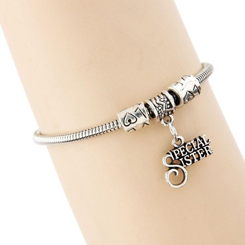 Vintage Charm Special Sister Sis Letter Snake Chain Bracelet Family Women Girl Gift Bangles Statement Jewelry Lovely Bracelets