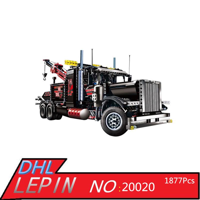Technic Series LEPIN 20020 1877Pcs Pneumatic Tow Truck Model Building Kits Blocks Bricks Toys for Children Boys Gift With 8285 gudi city police truck car blocks toys assembled model building kits blocks toys christmas gift toys for children boys 9306