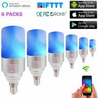 Smart Led Light Bulb E14 RGBW Color Change Dimmable Smart Light Bulb Dimmable WiFi Smart Bulb for ALexa Google Home(6Packs)
