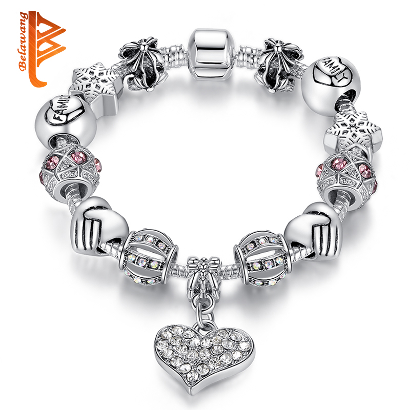 Bracelets: Luxury Brand Women Bracelet Silver Plated Crystal Charm Bracelet for Women DIY Beads Bracelets & Bangles Jewelry Gift PS3307