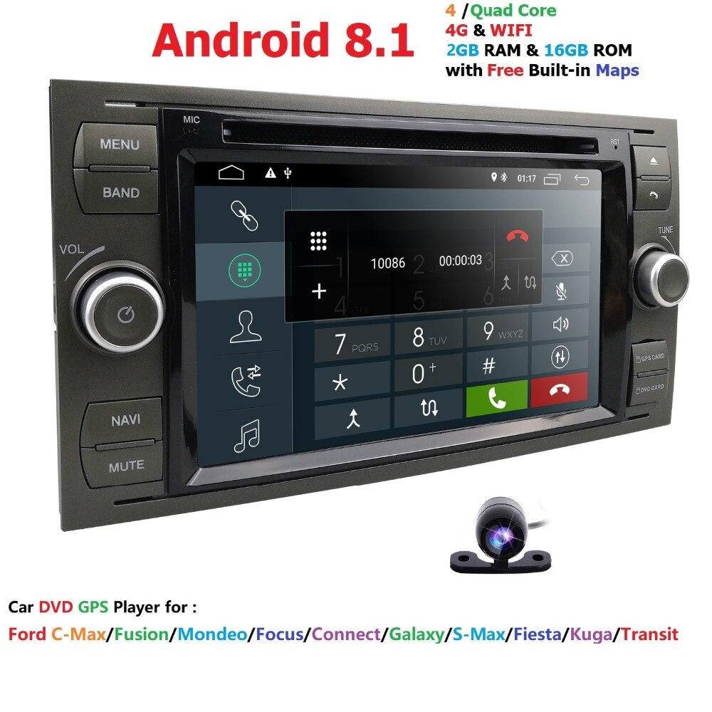 Lecteur Multimédia de voiture GPS Android 8.1 2 Din Pour Ford/Mondeo/Focus/Transit/C-MAX Voiture Radio bluetooth DVR Autoradio Audio Moniteur