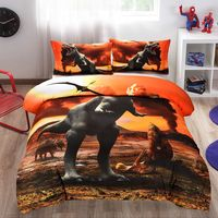 3D Quilt Cover Clothes Pillowcase Kids Bedroom Bohemia style Twin Full Queen King Size Bedding Dinosaur Volcano eruption