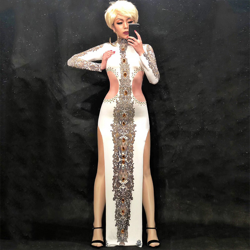 Women Sexy White Long Sparkling Crystal Rhinestone Dress Nightclub Party Banquet Clothing Stage Wear Stage Costumes For Singer