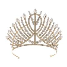 1pc Crown Rhinestone Alloy Bridal Baroque Crown Headwear Wedding Cosplay Snap Barrette Stick Hairpin Hair Styling Accessories(China)