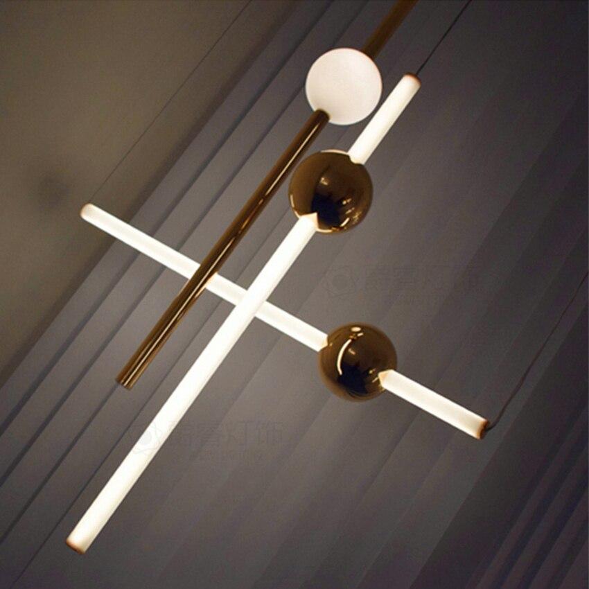 Modern LED Chandelier Lighting Loft Pendant Lamps Metal Ball Vertical Lustre Home Indoor Decor Luminaire Hanging Lamps Luminaire