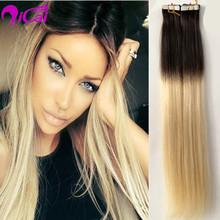 8A Ombre Virgin Remy Hair Skin Weft Hair US Tape In Human Hair Extensions Brazilian Remy Hair Straight Wefts 8-22 inch