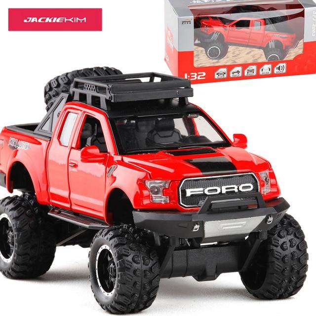 Die-Cast Metal Model Mobil Kendaraan 1:32 untuk Ford Raptor Kaki Besar Truk Pick-Up dengan Suara Cahaya kotak Asli Mainan Anak Anak