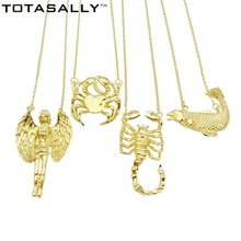 TOTASALLY Brand New Fashion vintage desinged 12 signs of the Zodiac Pendants Necklaces For Women Collar Jewelry Gift Bijoux