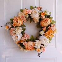 1PC Artificial Silk Peony Flowers Wreaths Door Artificial Flowers Garland For Wedding decoration Home Garden Party Decor