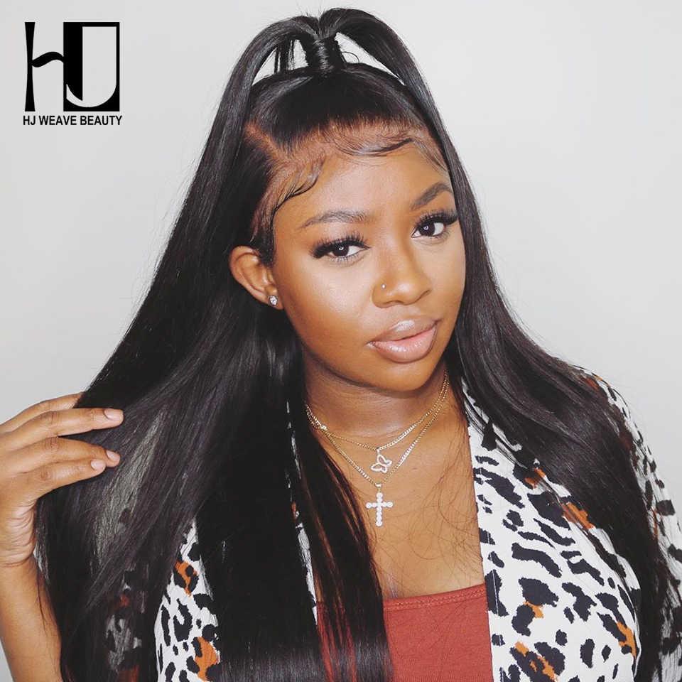 HJ Weave beauty 300% плотность 5x5 парик шнурка бразильские Прямые Виргинские человеческие волосы парики полный и толстый конец