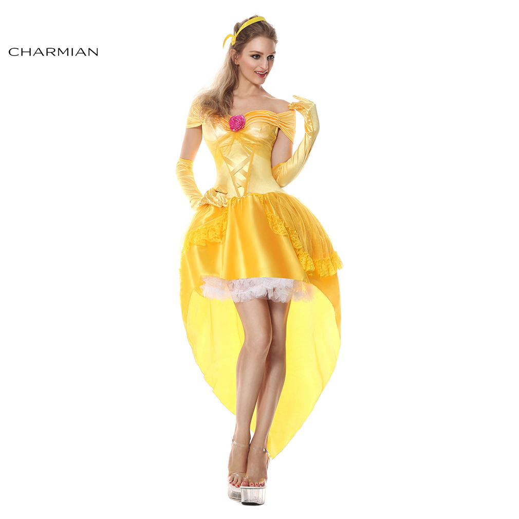 Charmian Fashion Belle Princess Anime Cosplay Costume for Women Adult High-Low Dress Halloween Carnival Party Dress Cosplay