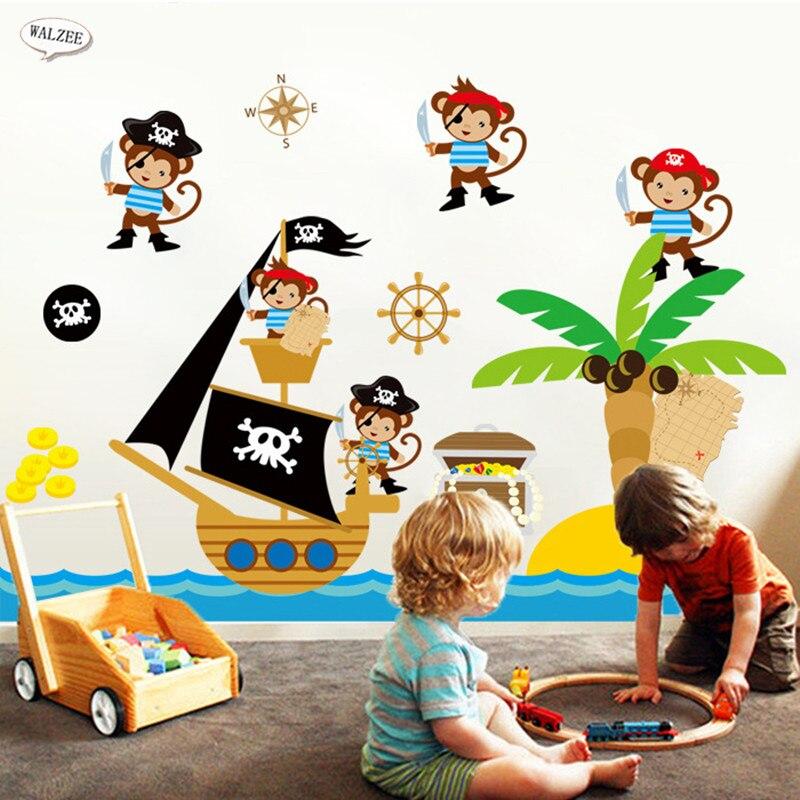 Pirates Kids Wall Decal: Aliexpress.com : Buy Pirate Ship Monkey Maritime Adventure Wall Sticker Kindergarten Kid Baby