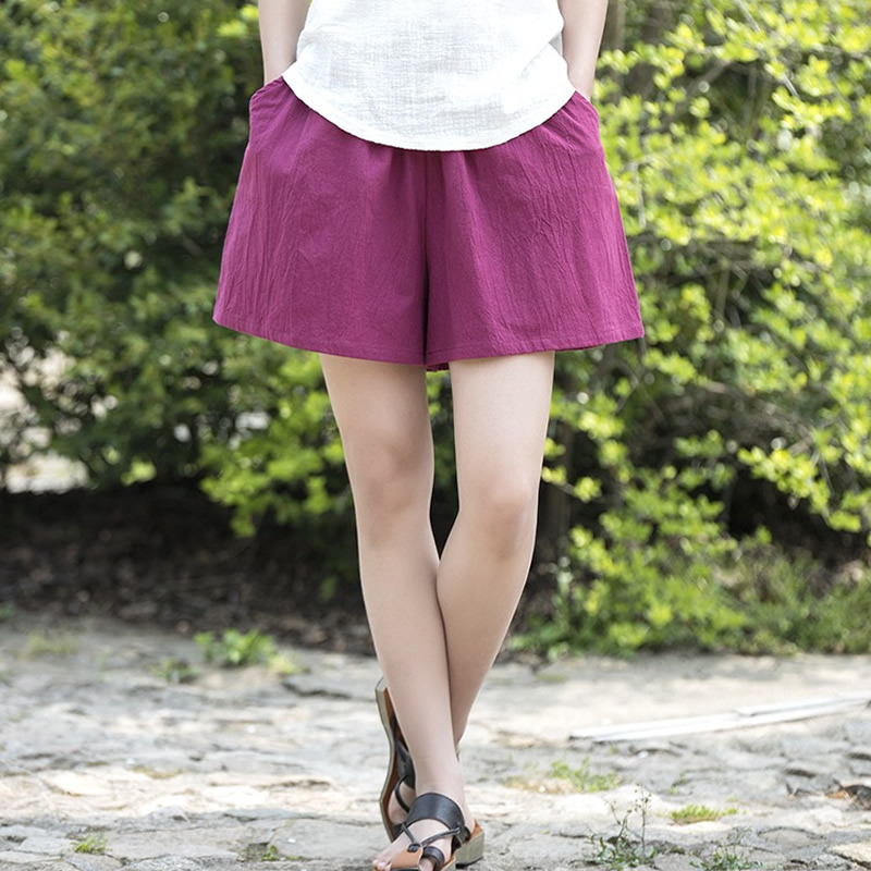 Cotton Linen Elastic waist Women Shorts Skirts Solid White Blue Loose Casual Summer Shorts Plus size Women Vintage Shorts B120