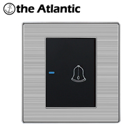 Atlantic 1 Gang Luxury Doorbell Switch Push Button Wall Switch Interruptor Brushed Silver Panel Power Conmutador