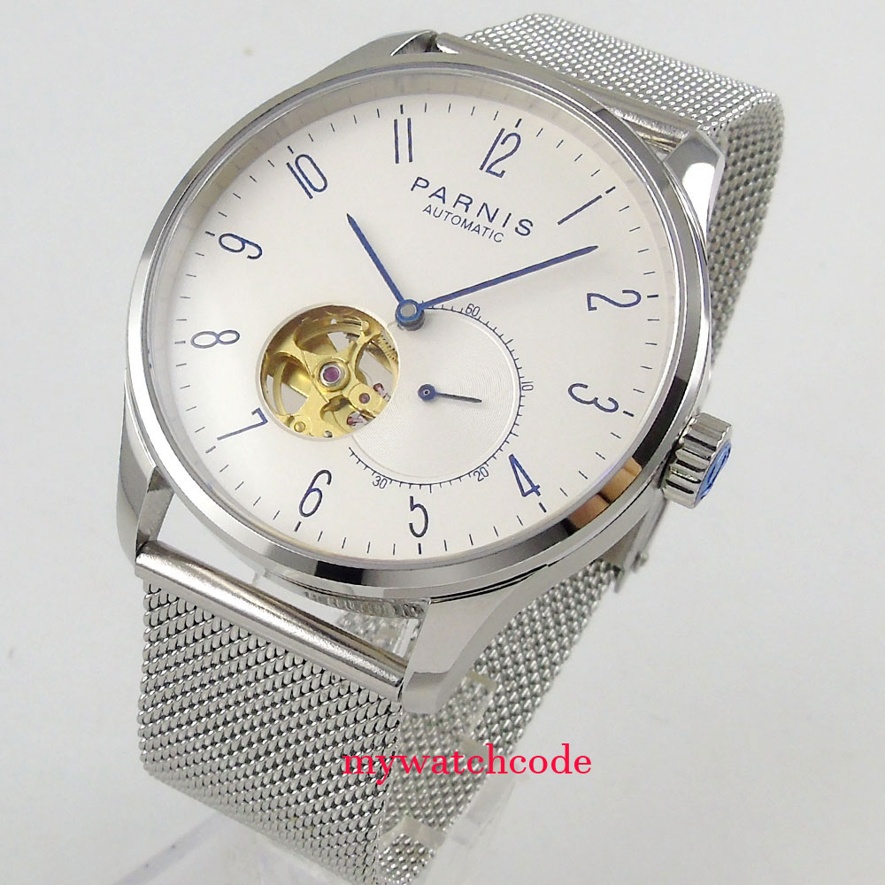 42mm Parnis white dial Sapphire glass golden Miyota automatic mens watch 42mm parnis white black dial sapphire glass miyota 8215 automatic mens watch 423