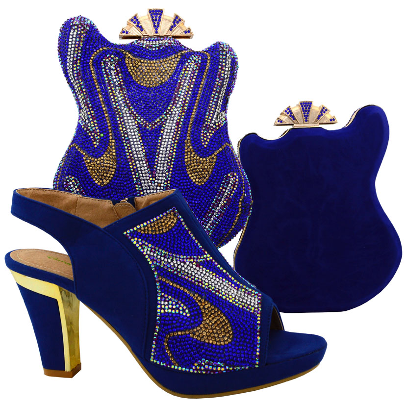 Fast selling African party shoes and bag to match,royalblue high quality italy shoes and bag set for sexy lady size38-42 MJT1-16