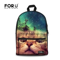 FORUDESIGNS Children School Bags 3D Galaxy Space Star Printing Canvas Backpacks Women Cute Cat Student Book