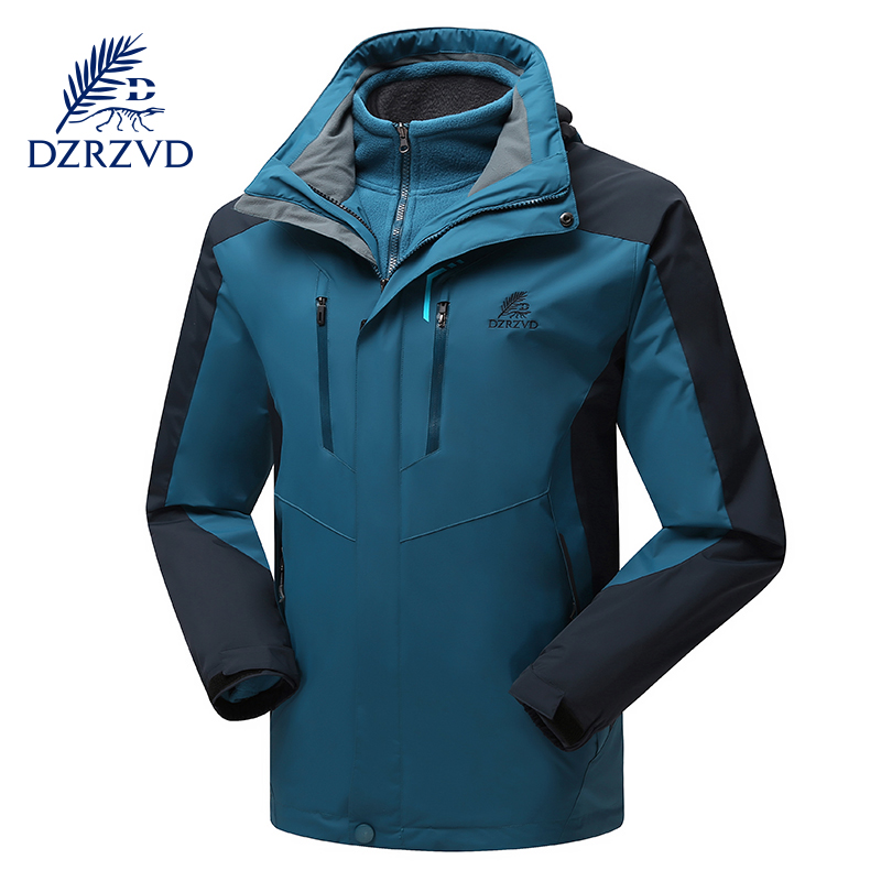 DZRZVD Autumn Winter Outdoor Ski Hiking Waterproof  2 in 1 Jacket Men Two-Piece Windproof Fleece Warm windbreaker Sports Coats drmundo hiking jacket men plus size windbreaker waterproof ski outdoor rain jacket mountaineering fleece jacket lengthened
