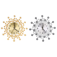 Inlaid Diamond Flower Living Room Silence Bedroom Metal Wall Clock