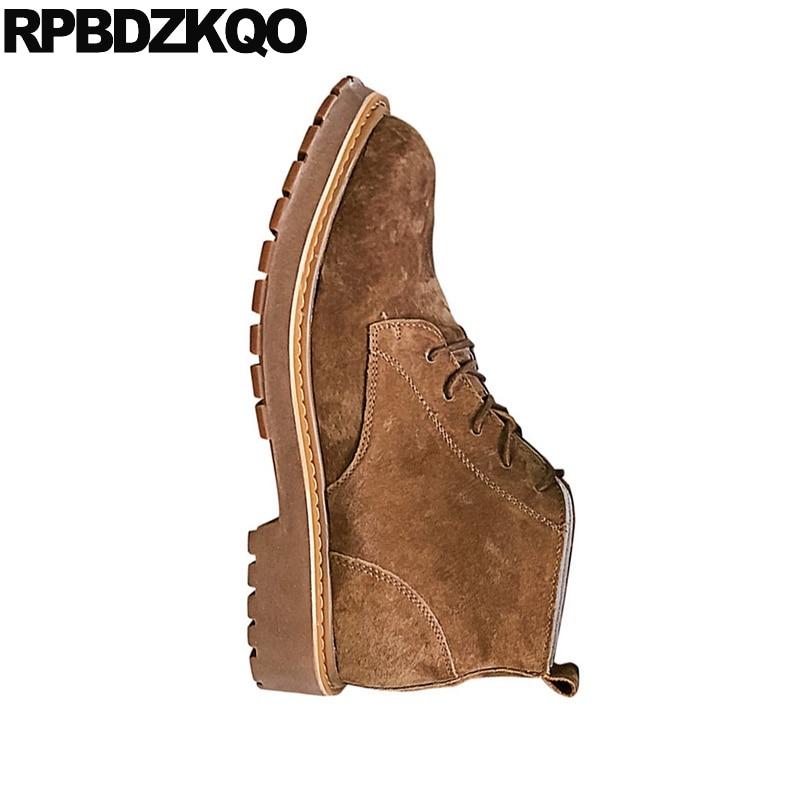 Cordones De Zapatos Negro Botas Con Para Piel Khaki Marrón TUwxBqX