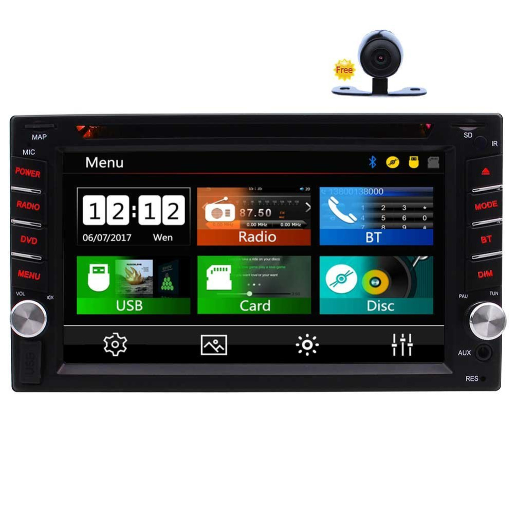 Eincar Double Din Car Stereo In-Dash FM/AM RDS Radio Headunit 6.2 Car DVD Player Bluetooth Steering Wheel Control TF Subwoofer steering wheel control car radio mp5 player fm usb tf 1 din remote control 12v stereo 7 inch car radio aux touch screen