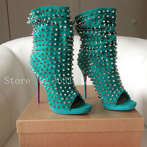 2018 Newest Hot Green Spikes Rivets Suede Leather Peep Toe Women Boots Thin High Heels Slip On Mid-Calf Boots Pleate Shoes Woman