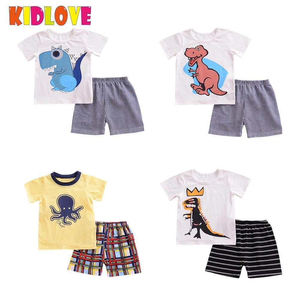 Kidlove Лидер продаж бренд для мальчиков милый мультфильм динозавра летняя Домашняя одежда костюм топы + шорты в тон для отдыха одежда из хлопк...