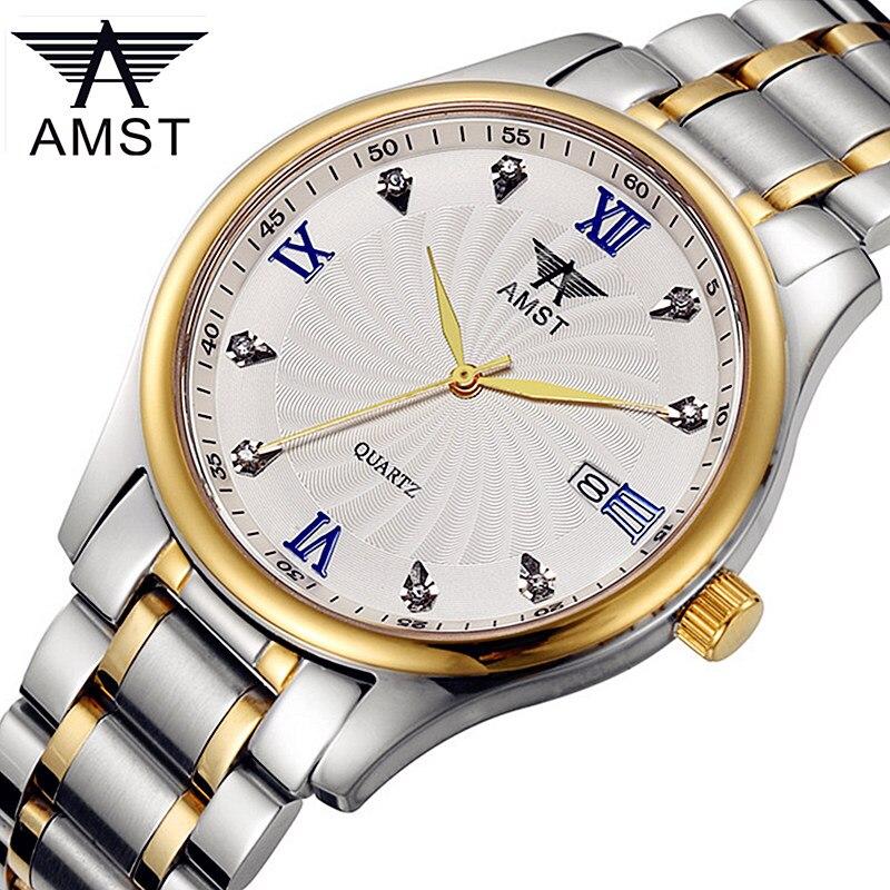 ФОТО AMST Casual Brand Quartz Watch Men Women Fashion Diamond Full Steel Watch Calendar Business Waterproof Watches For Lover's Gift