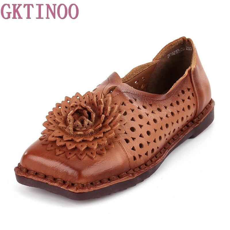 Gktinoo otoño moda flor diseño punta redonda plana agujero Zapatos vendimia Cuero  auténtico mujeres pisos chicas mocasines en Pisos de las mujeres de ... 8c9ede836c57