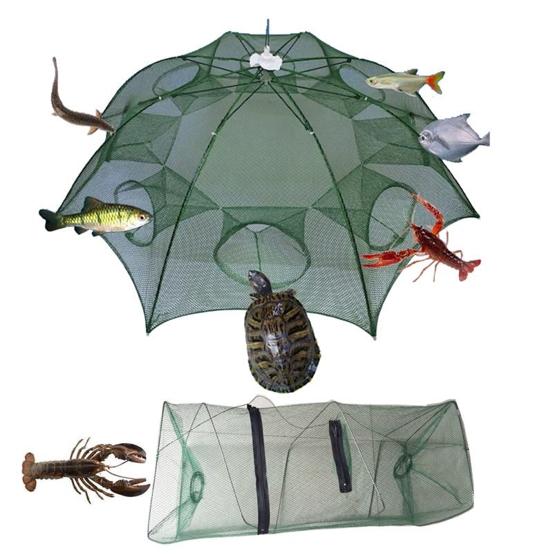 Portable Folded Fishing Net Fish Shrimp Minnow Crayfish Crab Bait Cast Mesh Trap