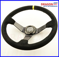 14inch 350mm Suede Leather  deep Corn Drifting Steering Wheel