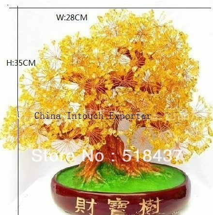 2013 new fashion bonanza money tree decoration ornament tree big glass crystal artifical jade trees on sale