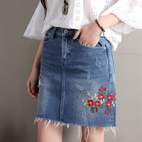 High Waist Denim Skirts Womens 2018 Autumn Floral Embroidered Skirt Ladies Fashion Casual Mini Jeans Skirt