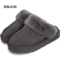 Natural Sheepskin Fur Slippers Fashion Men Winter Genuine Leather Slippers Male Warm Indoor Slippers Soft Wool